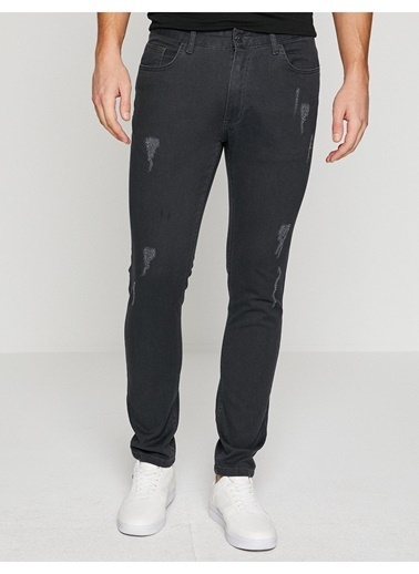 Koton Koton Eskitme Detaylı Gri Klasik Pantolon Gri